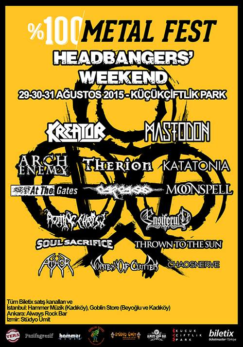 100de100 Metal Fest Headbangers Weekend - 29-30-31 Ağustos 2015